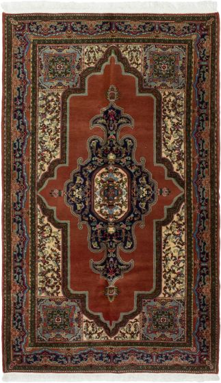 Bordered  Traditional Brown Area rug 5x8 Turkish Hand-knotted 293252
