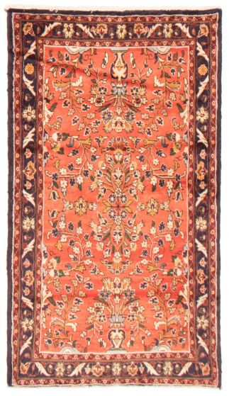 Bordered  Traditional Brown Area rug 3x5 Persian Hand-knotted 366437