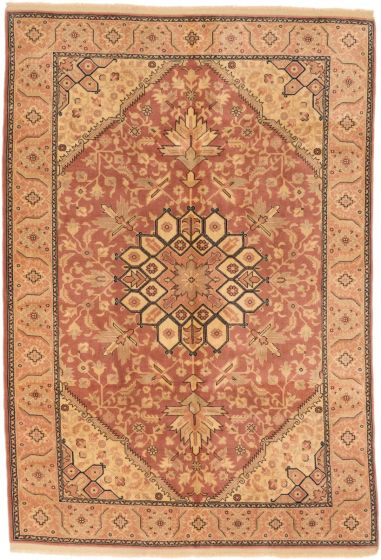 Traditional Brown Area rug 5x8 Turkish Hand-knotted 191296