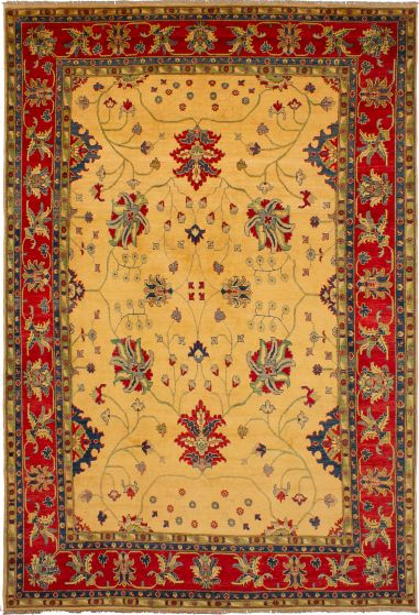 Bordered  Traditional Ivory Area rug 9x12 Afghan Hand-knotted 272482