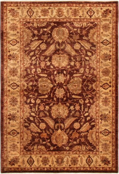 Bordered  Traditional Brown Area rug 5x8 Afghan Hand-knotted 293020