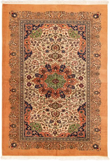 Bordered  Traditional Brown Area rug 4x6 Turkish Hand-knotted 293209