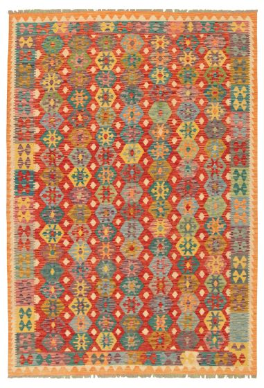 Bordered  Geometric Red Area rug 6x9 Turkish Flat-weave 316245