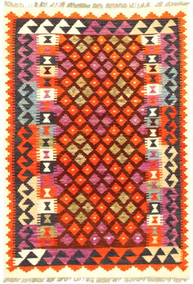 Bordered  Geometric Brown Area rug 3x5 Turkish Flat-weave 330186