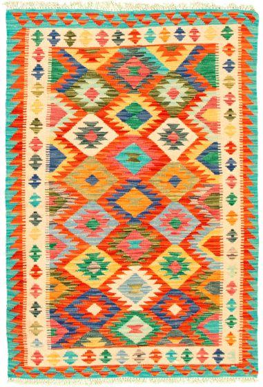 Bordered  Geometric Multi Area rug 3x5 Turkish Flat-weave 330193