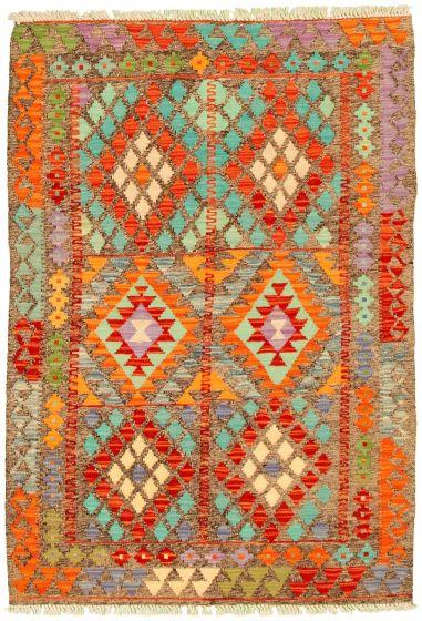 Bordered  Geometric Grey Area rug 3x5 Turkish Flat-weave 330234