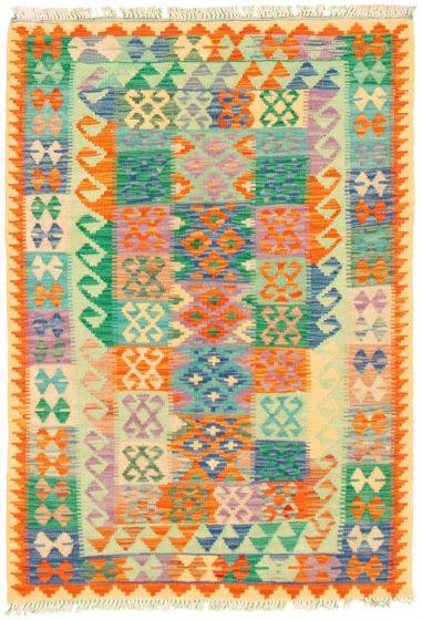 Bordered  Geometric Multi Area rug 3x5 Turkish Flat-weave 330244