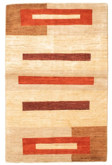 Casual  Transitional Ivory Area rug 4x6 Pakistani Hand-knotted 331315