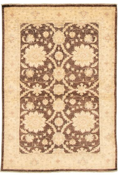 Bordered  Traditional Brown Area rug 3x5 Afghan Hand-knotted 331595
