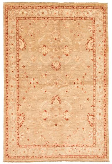 Bordered  Traditional Brown Area rug 5x8 Afghan Hand-knotted 331600