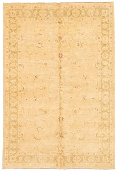 Bordered  Traditional Ivory Area rug 5x8 Afghan Hand-knotted 331632