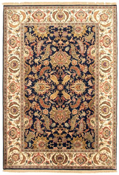 Bordered  Traditional Blue Area rug 5x8 Indian Hand-knotted 335481