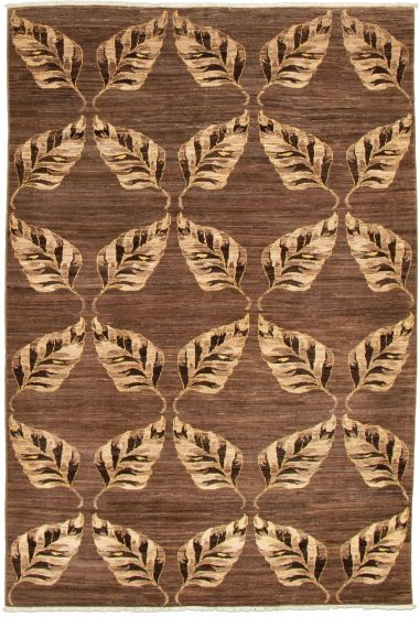 Casual  Transitional Brown Area rug 5x8 Pakistani Hand-knotted 339008