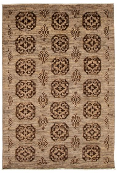 Geometric  Transitional Grey Area rug 6x9 Pakistani Hand-knotted 339040