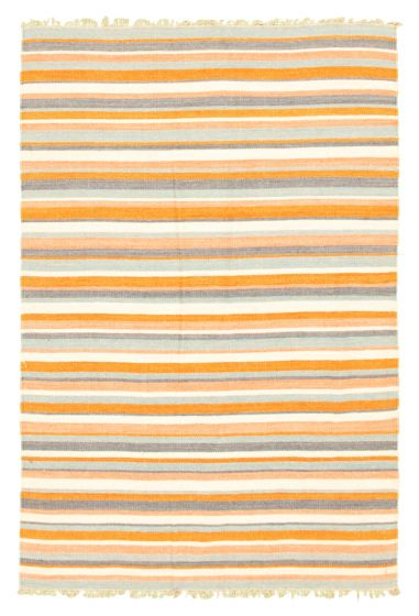 Flat-weaves & Kilims  Transitional Brown Area rug 3x5 Indian Flat-weave 344510
