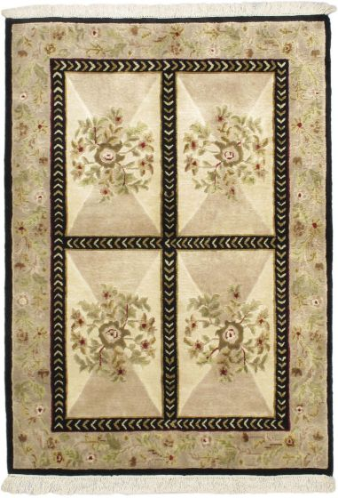 Transitional Ivory Area rug 3x5 Nepal Hand-knotted 54346