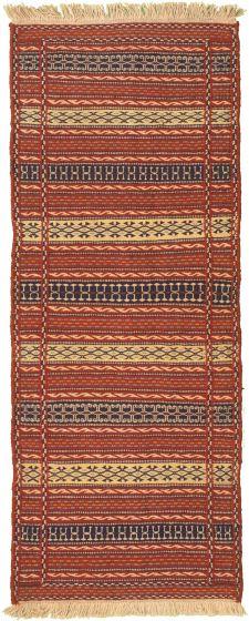 Bordered  Stripes Red Runner rug 7-ft-runner Turkish Flat-weave 334965