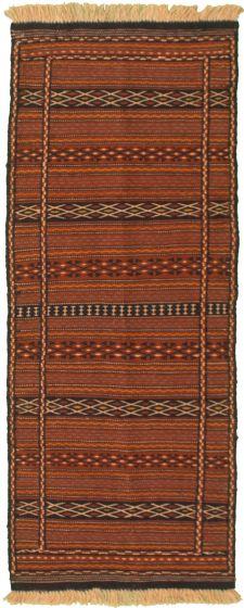 Bordered  Stripes Brown Runner rug 6-ft-runner Turkish Flat-weave 334971