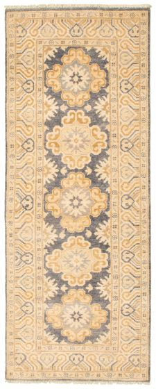 Bordered  Traditional Grey Runner rug 7-ft-runner Pakistani Hand-knotted 338752