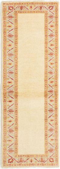 Bordered  Traditional Ivory Runner rug 6-ft-runner Afghan Hand-knotted 280342