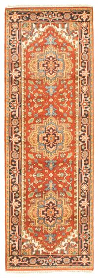 Bordered  Traditional Brown Runner rug 8-ft-runner Indian Hand-knotted 344546