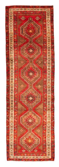 Bordered  Traditional Red Runner rug 13-ft-runner Turkish Hand-knotted 352680