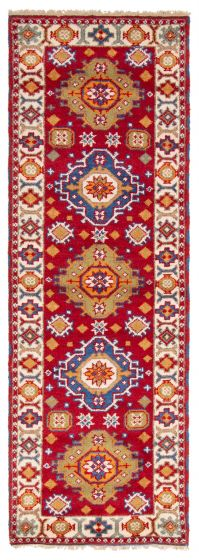 Bordered  Traditional Red Runner rug 9-ft-runner Indian Hand-knotted 363187