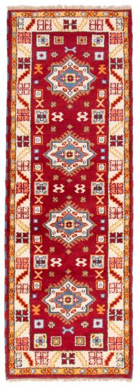 Bordered  Traditional Red Runner rug 9-ft-runner Indian Hand-knotted 363230