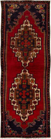 Bordered  Vintage Red Runner rug 12-ft-runner Turkish Hand-knotted 279875