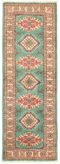Bordered  Traditional Green Runner rug 6-ft-runner Afghan Hand-knotted 331517