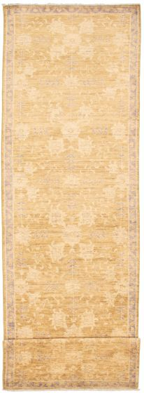 Bordered  Traditional Brown Runner rug 17-ft-runner Pakistani Hand-knotted 338993