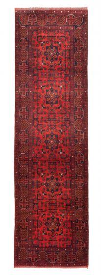 Bordered  Tribal Red Runner rug 10-ft-runner Afghan Hand-knotted 342288