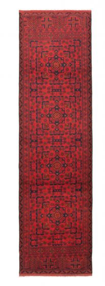 Bordered  Traditional Red Runner rug 10-ft-runner Afghan Hand-knotted 342324