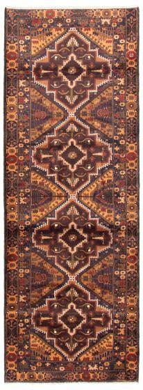 Bordered  Tribal Brown Runner rug 10-ft-runner Afghan Hand-knotted 342463