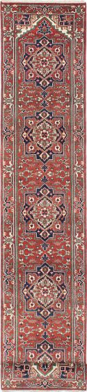Floral  Traditional Orange Runner rug 20-ft-runner Indian Hand-knotted 218201
