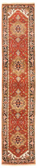 Bordered  Traditional Red Runner rug 10-ft-runner Indian Hand-knotted 344638