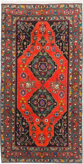 Geometric  Traditional Red Area rug 5x8 Turkish Hand-knotted 214681
