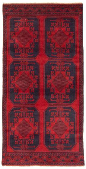 Geometric  Tribal Red Runner rug 6-ft-runner Afghan Hand-knotted 367572