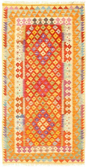 Bordered  Geometric Red Area rug 3x5 Turkish Flat-weave 329988