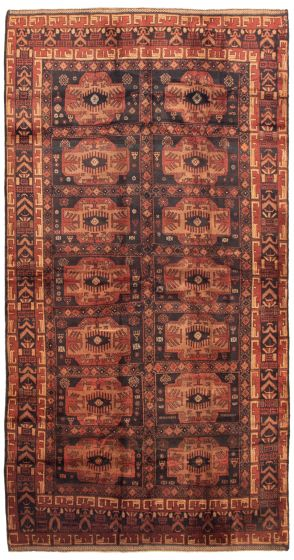 Bordered  Tribal Black Area rug Unique Afghan Hand-knotted 342513