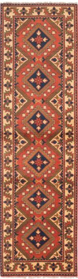 Tribal Brown Runner rug 10-ft-runner Afghan Hand-knotted 202956