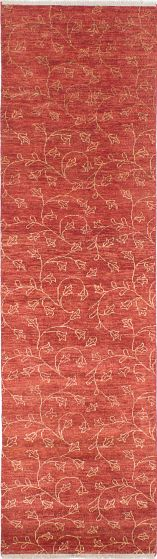 Transitional Red Runner rug 10-ft-runner Indian Hand-knotted 223816