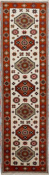 Geometric  Traditional Ivory Runner rug 10-ft-runner Indian Hand-knotted 233239