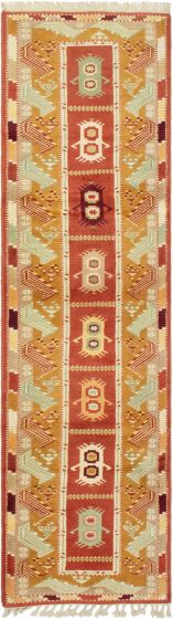 Bordered  Traditional Brown Runner rug 9-ft-runner Turkish Hand-knotted 293606
