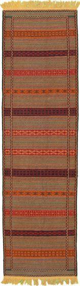 Flat-weaves & Kilims  Tribal Green Runner rug 10-ft-runner Turkish Flat-weave 333062