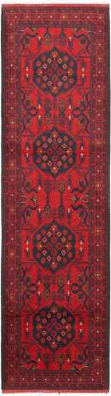 Bordered  Traditional Red Runner rug 10-ft-runner Afghan Hand-knotted 342356
