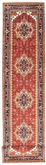 Bordered  Traditional Red Runner rug 19-ft-runner Indian Hand-knotted 344595