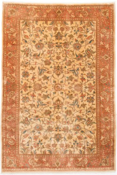 Traditional Yellow Area rug 5x8 Persian Hand-knotted 202744