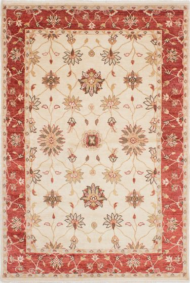 Traditional Ivory Area rug 5x8 Indian Hand-knotted 223688