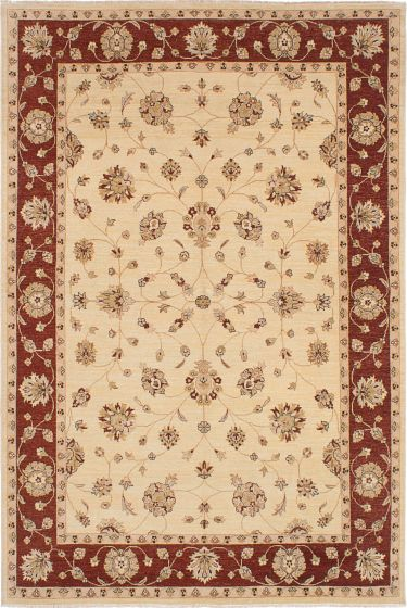 Traditional Ivory Area rug 6x9 Indian Hand-knotted 223944